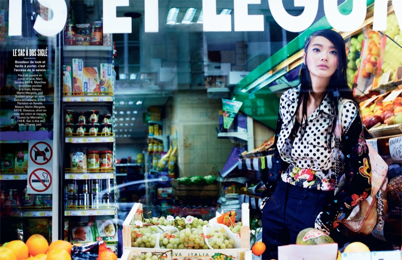 li wei naomi yang9 Li Wei Wears Spring Prints for Naomi Yang in Glamour France