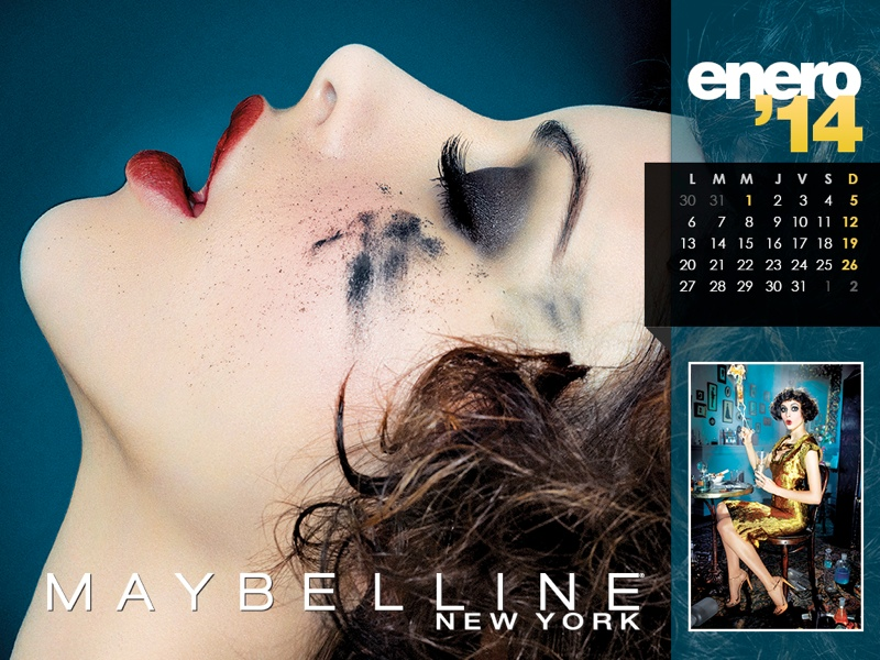 maybelline calendar 2014 1 Maybelline 2014 Calendar with Frida Gustavsson, Erin Wasson + More