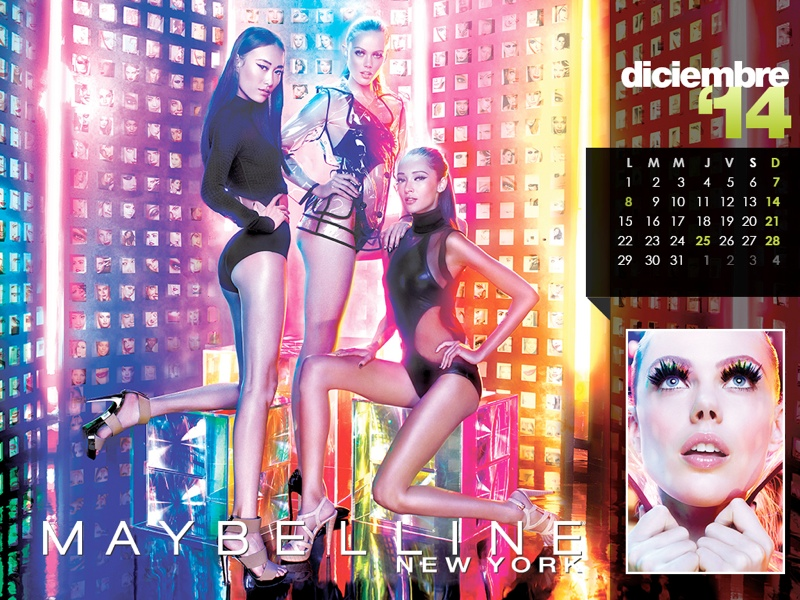 maybelline calendar 2014 12 Maybelline 2014 Calendar with Frida Gustavsson, Erin Wasson + More