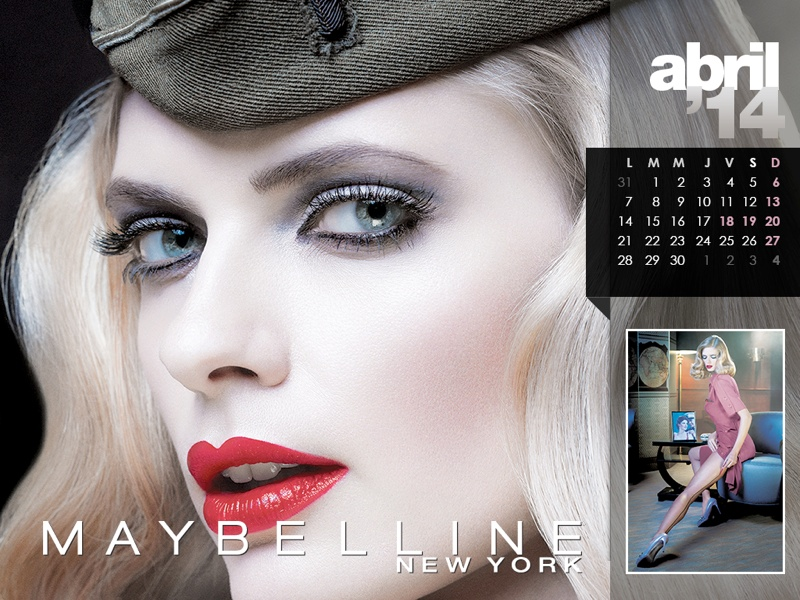 maybelline calendar 2014 4 Maybelline 2014 Calendar with Frida Gustavsson, Erin Wasson + More