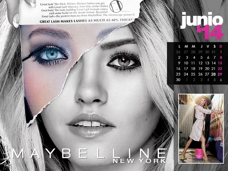 maybelline calendar 2014 6 Maybelline 2014 Calendar with Frida Gustavsson, Erin Wasson + More