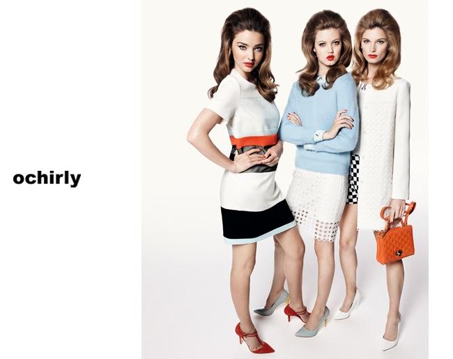 ochirly spring ads1 Miranda Kerr, Lindsey Wixson + Ava Smith Front Ochirly Spring 2014 Campaign