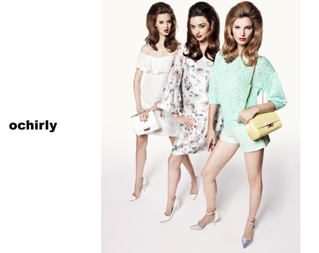 ochirly spring ads3 Miranda Kerr, Lindsey Wixson + Ava Smith Front Ochirly Spring 2014 Campaign