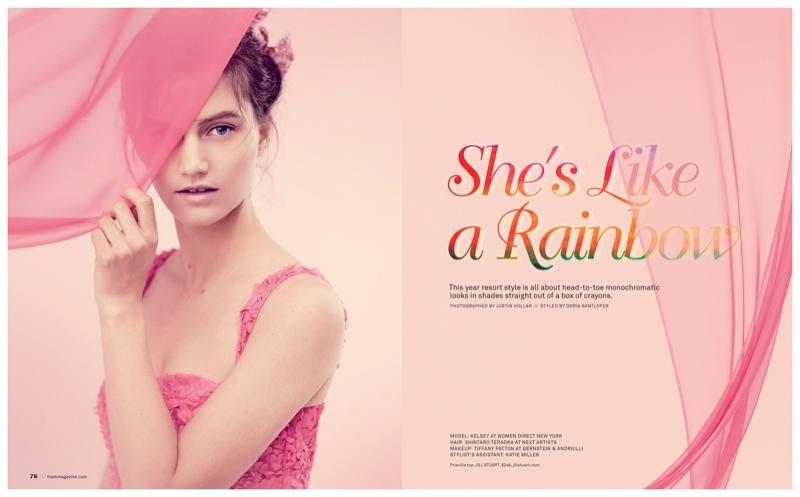Kelsey Models Rainbow Colors for Justin Hollar in Foam Shoot