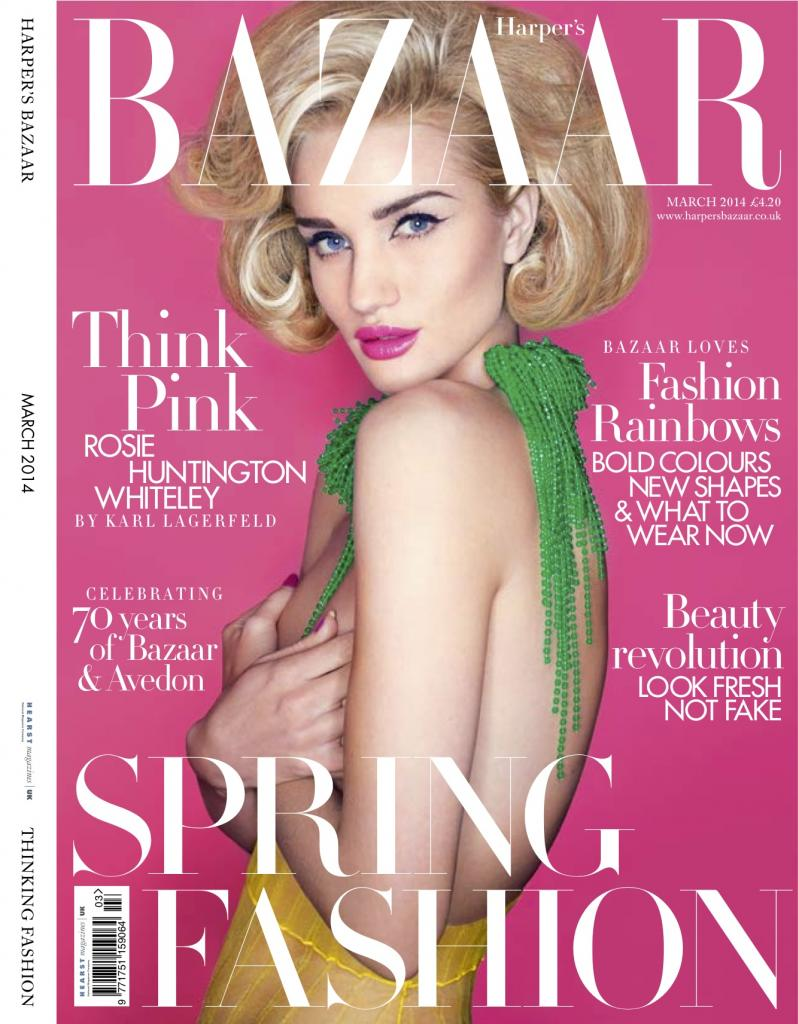 rosie bazaar uk cover Rosie Huntington Whiteley Poses for Karl Lagerfeld on Bazaar UK Cover