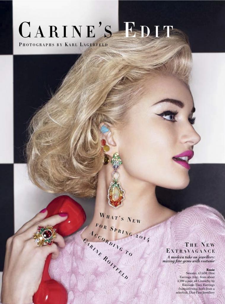 Rosie Huntington-Whiteley Poses for Karl Lagerfeld on Bazaar UK Cover