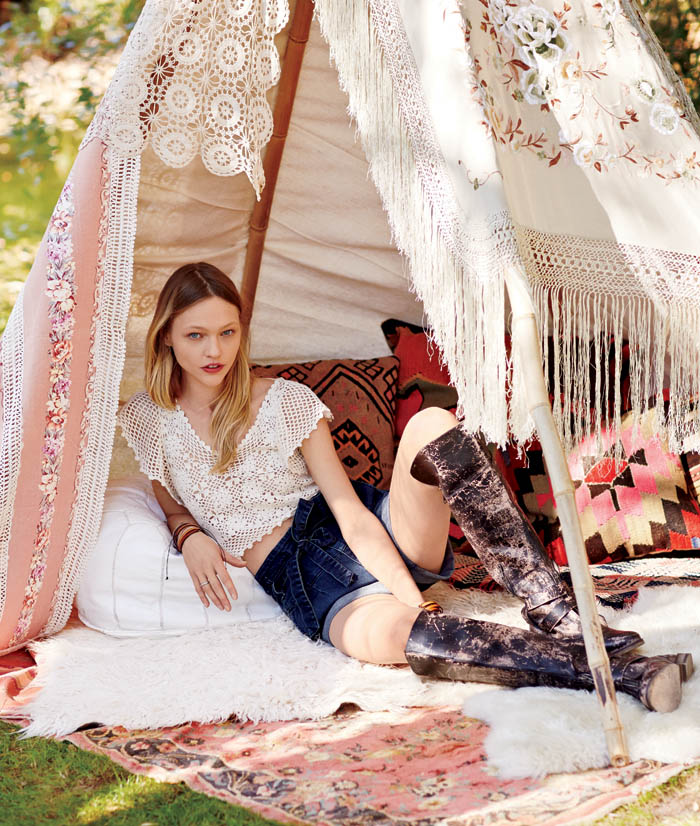 sasha free people4 Sasha Pivovarova Stars in Free Peoples January Catalogue