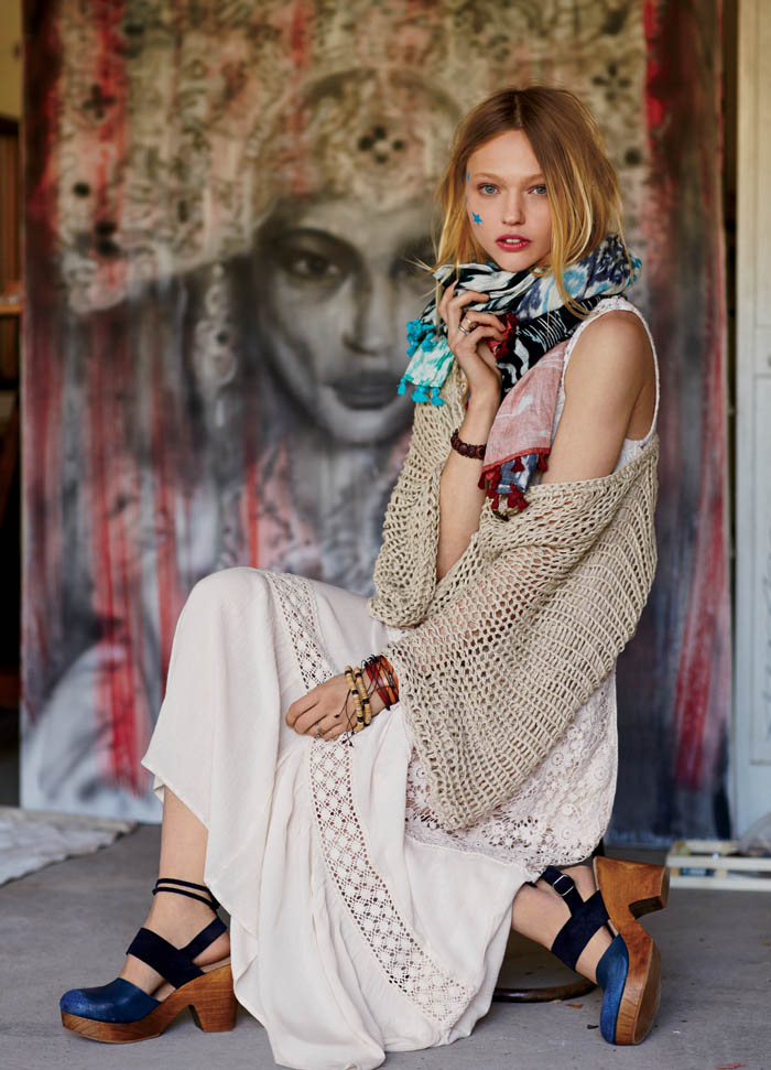 sasha free people9 Sasha Pivovarova Stars in Free Peoples January Catalogue