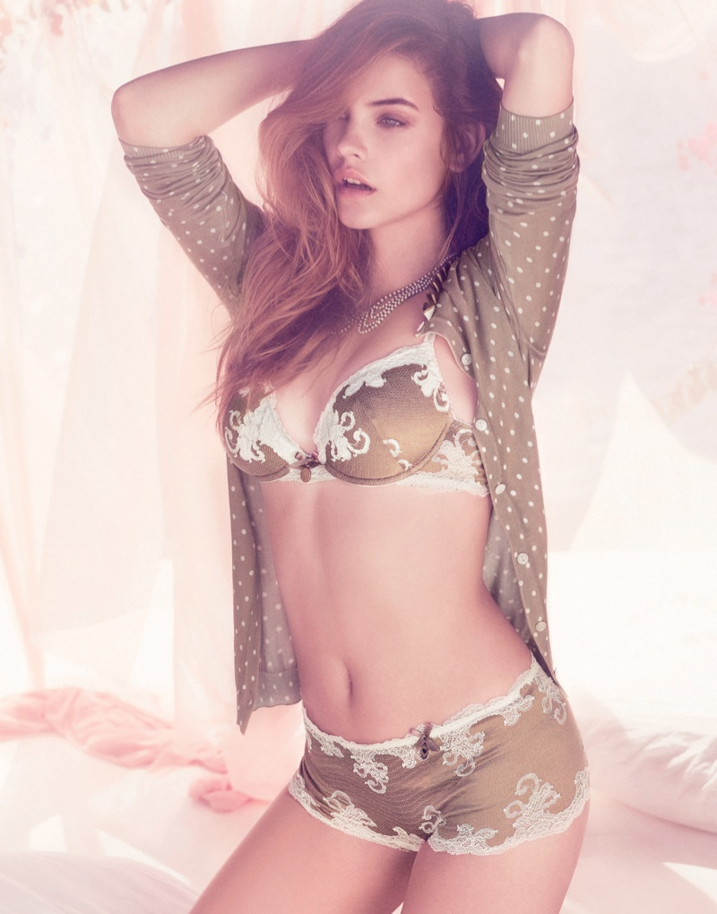 barbara palvin twin set lingerie2 Barbara Palvin Stuns in Twin Set Lingerie Spring 2014 Campaign