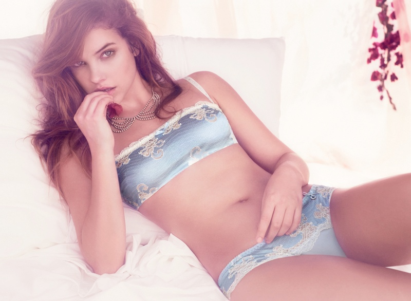 barbara palvin twin set lingerie4 Barbara Palvin Stuns in Twin Set Lingerie Spring 2014 Campaign