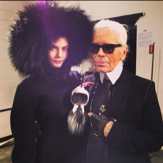 Cara Delevingne + Karl Lagerfeld backstage at Fendi's fall show
