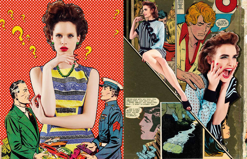 comic book style1 Ahmet Unver Captures 50s Comic Strip Style for LOfficiel Turkey
