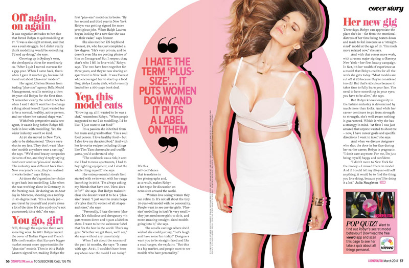 "Robyn Lawley Covers Cosmopolitan Australia, Says She Hates Term ""Plus Size"""