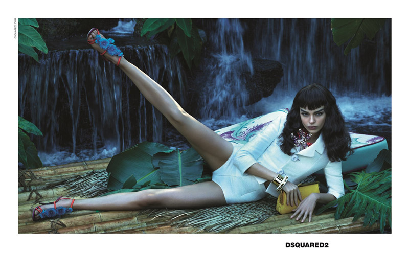 dsquared spring 2014 campaign2 Luma Grothe Gets Tropical for DSquared2 Spring/Summer 2014 Campaign