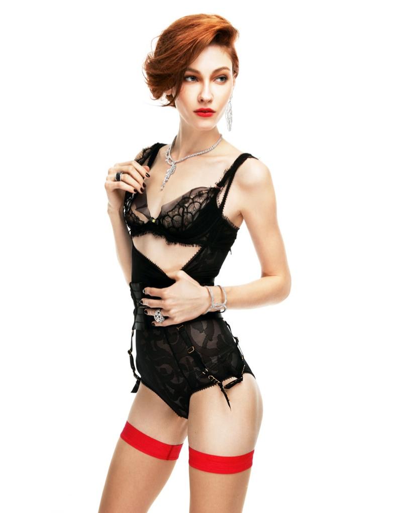 Lera Tribel is Boudoir Chic for Elle Russia by Nikolay Biryukov