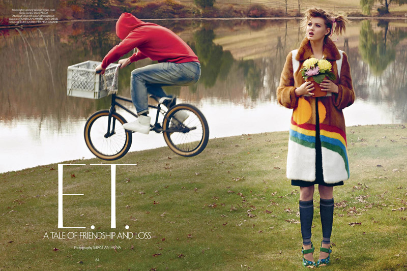 et fashion spread1 Lindsey Wixson Stars in E.T. Inspired Shoot for CR Fashion Book
