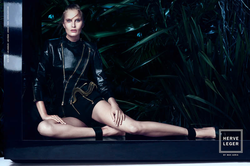 herve leger spring 2014 campaign2 Alla Kostromichova Enters the Jungle for Herve Legers Spring/Summer 2014 Campaign