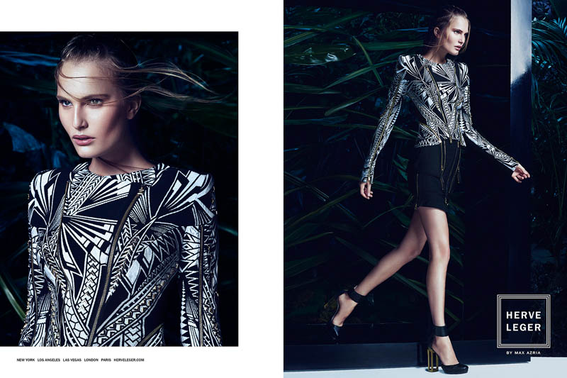herve leger spring 2014 campaign4 Alla Kostromichova Enters the Jungle for Herve Legers Spring/Summer 2014 Campaign