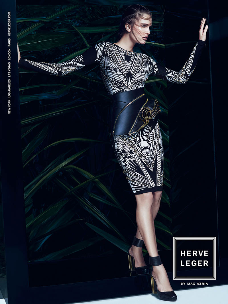 herve leger spring 2014 campaign5 Alla Kostromichova Enters the Jungle for Herve Legers Spring/Summer 2014 Campaign