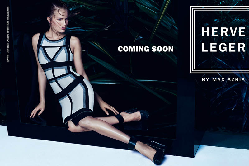 herve leger spring 2014 campaign6 Alla Kostromichova Enters the Jungle for Herve Legers Spring/Summer 2014 Campaign