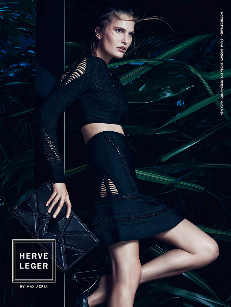 herve leger spring 2014 campaign7 Alla Kostromichova Enters the Jungle for Herve Legers Spring/Summer 2014 Campaign