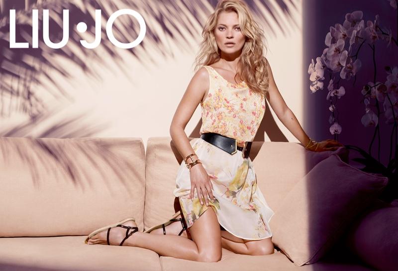 kate moss liu jo spring 2014 campaign4 Kate Moss Gets Casual for Liu Jos Spring 2014 Campaign