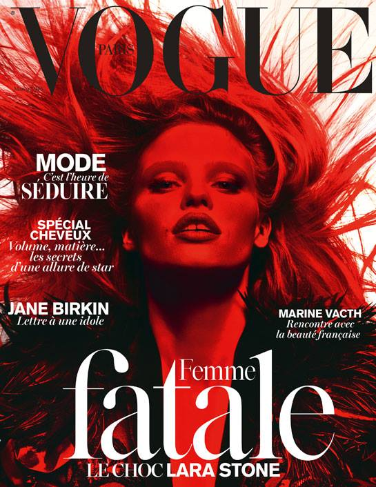 lara stone vogue paris 2014 cover Lara Stone is a Femme Fatale for Vogue Paris March 2014 Cover