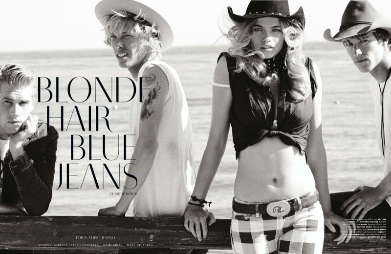 mario testino cowgirl1 Candice Swanepoel, Edita Vilkeviciute + Hailey Clauson Are Sexy Cowgirls for Vogue Germany by Mario Testino