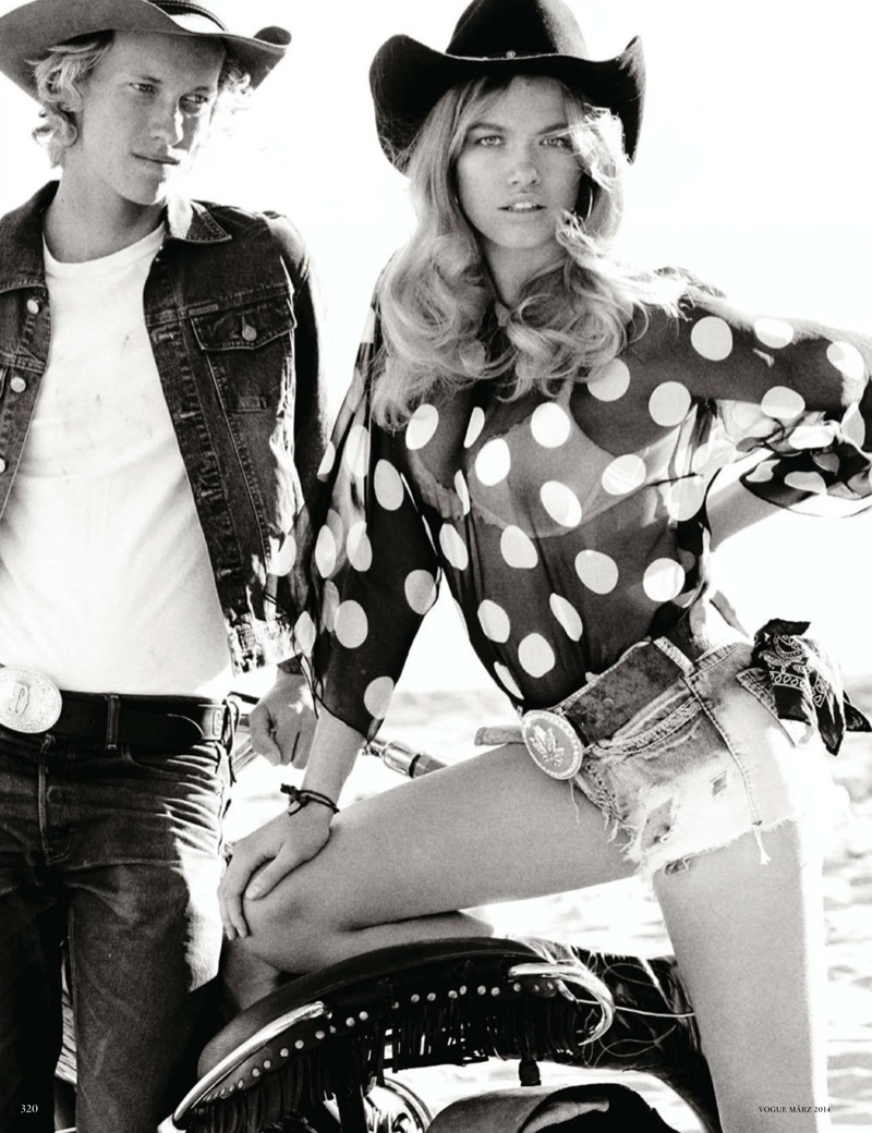 mario testino cowgirl5 Candice Swanepoel, Edita Vilkeviciute + Hailey Clauson Are Sexy Cowgirls for Vogue Germany by Mario Testino