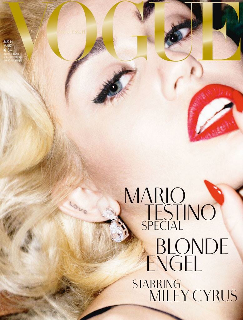 miley cyrus vogue germany cover1 Miley Cyrus Channels Marilyn Monroe on Vogue Germany Covers