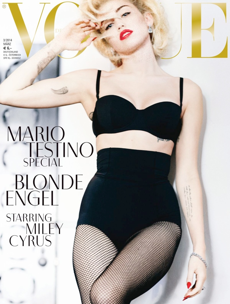 miley cyrus vogue germany cover2 Miley Cyrus Channels Marilyn Monroe on Vogue Germany Covers