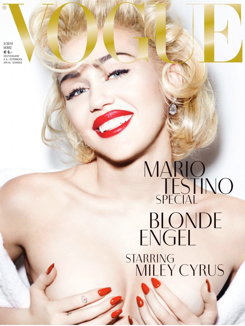miley cyrus vogue germany cover3 Miley Cyrus Channels Marilyn Monroe on Vogue Germany Covers