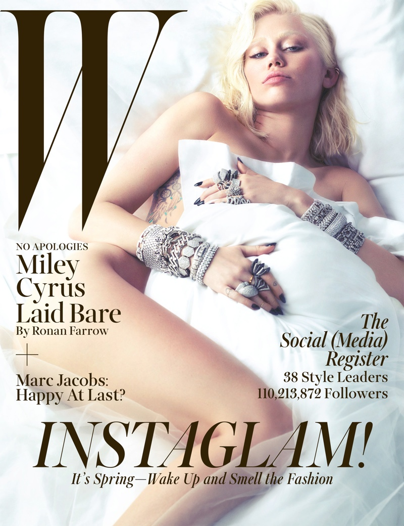 miley cyrus w magazine1 Miley Cyrus Strips for W Magazine March 2014 Cover Shoot