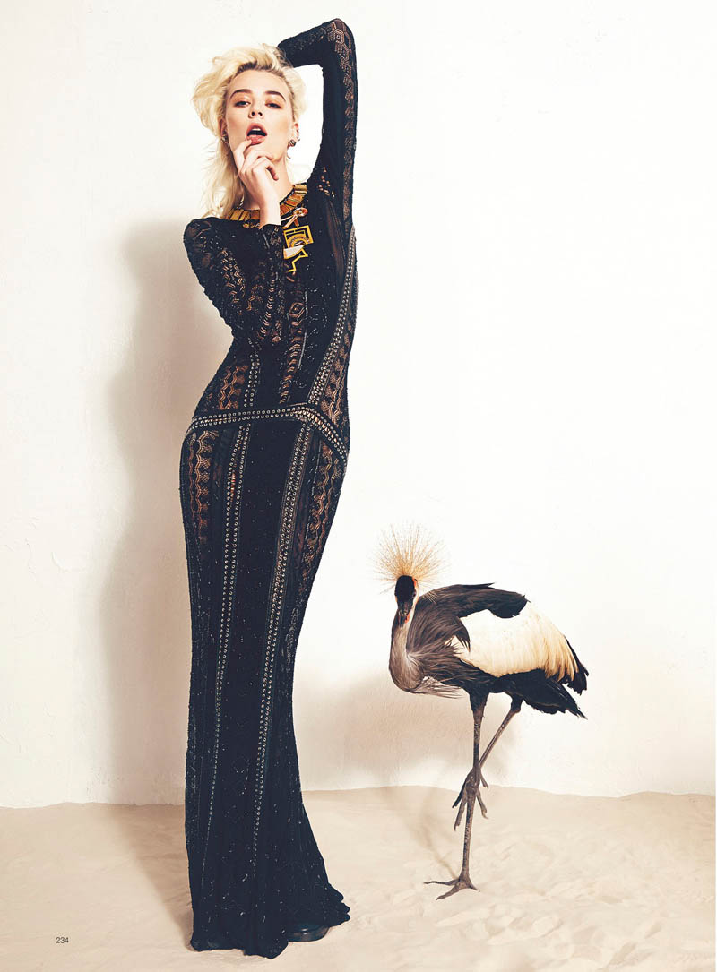 milou bazaar shoot10 Birds of a Feather: Milou van Grosen Gets Fowl for Bazaar Ukraine by Federica Putelli
