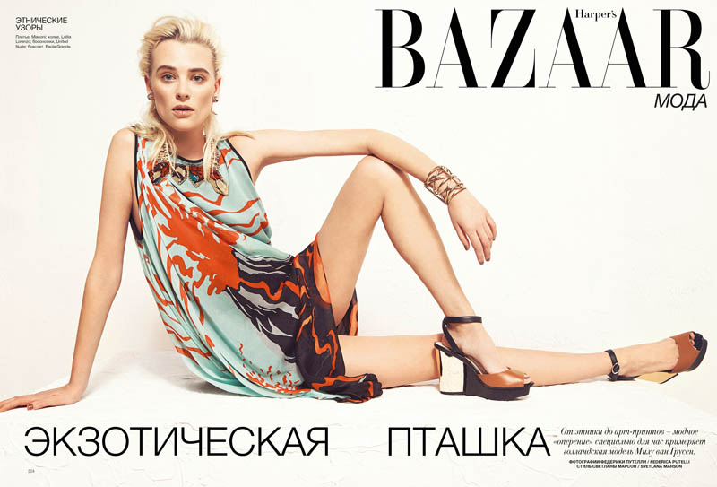 milou bazaar shoot2 Birds of a Feather: Milou van Grosen Gets Fowl for Bazaar Ukraine by Federica Putelli