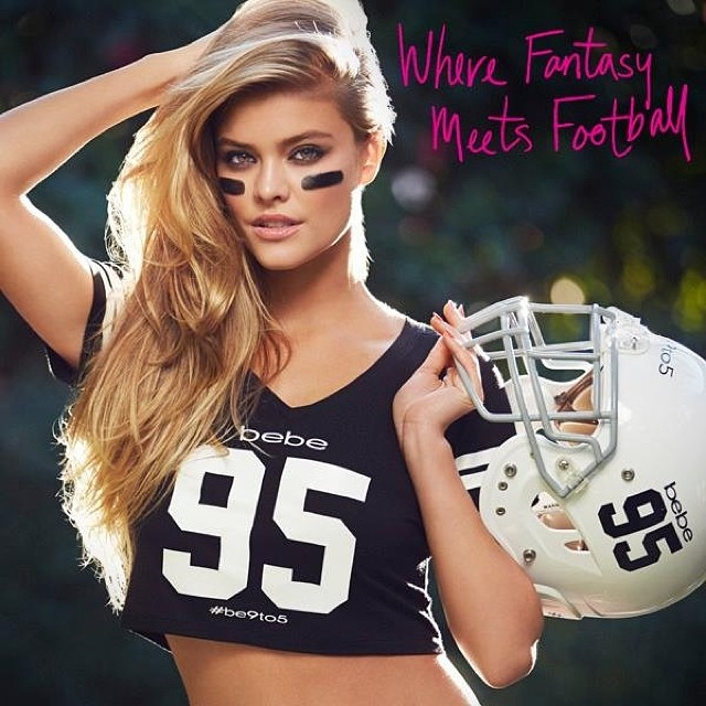 nina football bebe2 Happy Super Bowl Sunday from Nina Agdal + Bebe!