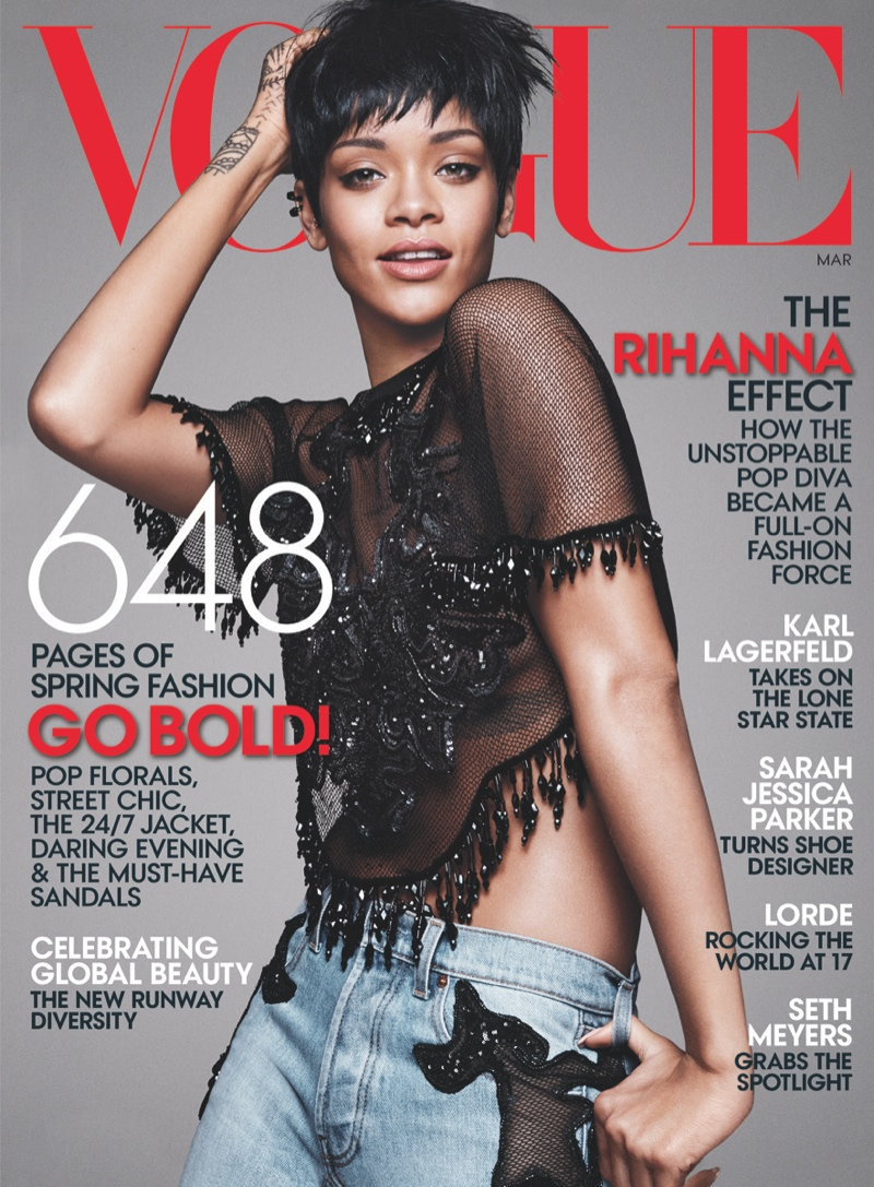 Rihanna covers the March 2014 cover of Vogue US