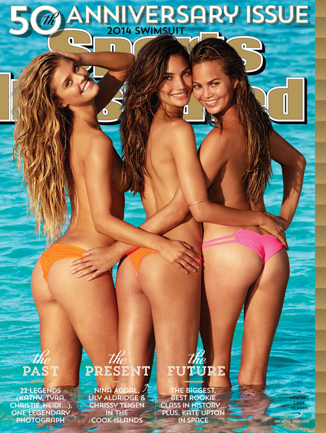 sports illustrated 50th anniversary cover Chrissy Teigen, Nina Agdal + Lily Aldridge Get Cheeky on Sports Illustrated 50th Anniversary Cover