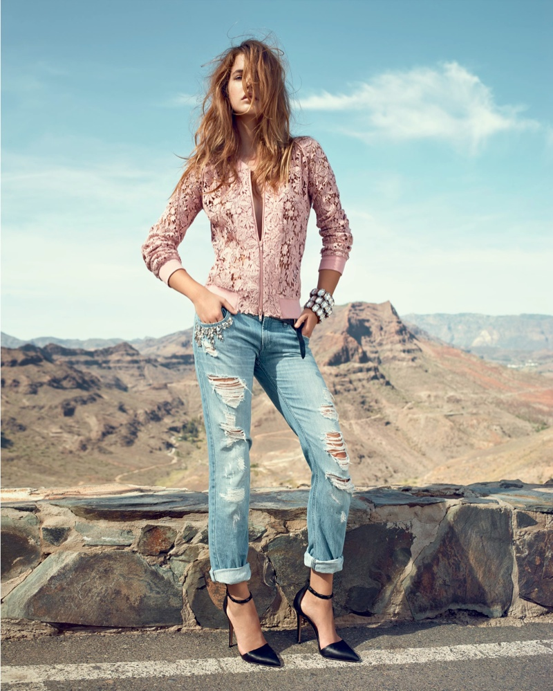 twin set jeans spring 20143 Barbara Palvin is a Denim Babe in Twin Set Jeans Spring 2014 Ads