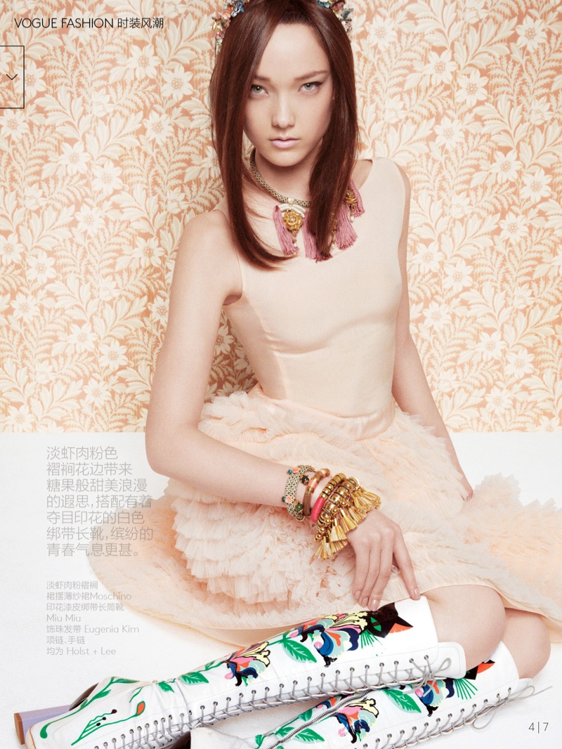 yumi lambert model4 Yumi Lambert is Pretty in Pink for Vogue China by Greg Kadel