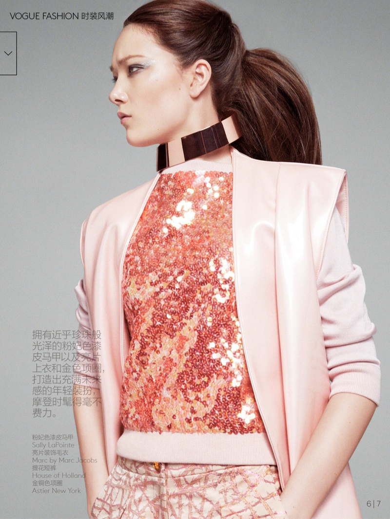 yumi lambert model6 Yumi Lambert is Pretty in Pink for Vogue China by Greg Kadel