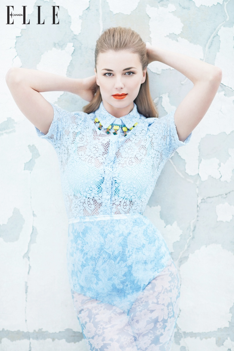Emily VanCamp  is Pretty in Pastels for Elle Canada Shoot