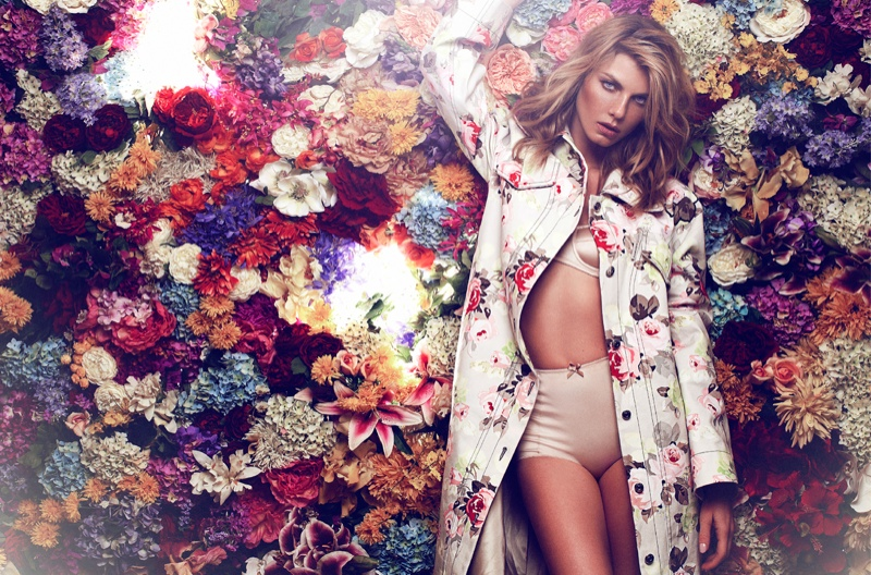 angela lindvall photo shoot1 Angela Lindvall Embraces Florals in Elle Russia Shoot by Xavi Gordo
