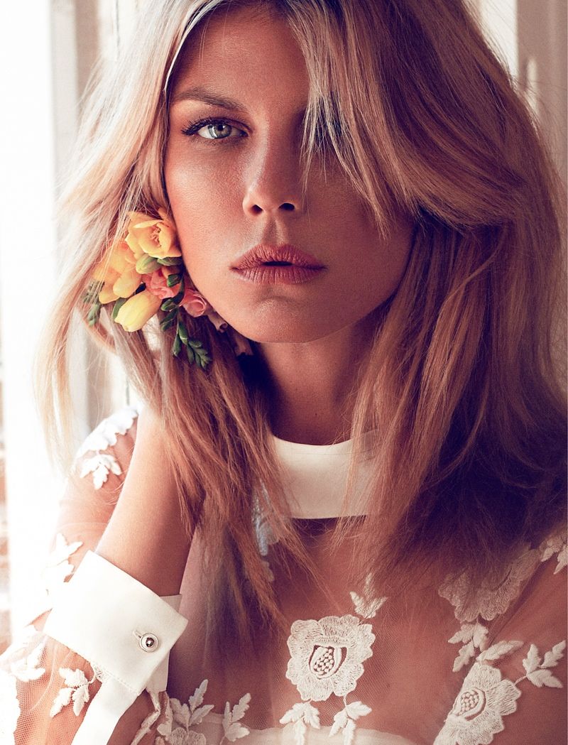Angela Lindvall Embraces Florals in Elle Russia Shoot by Xavi Gordo