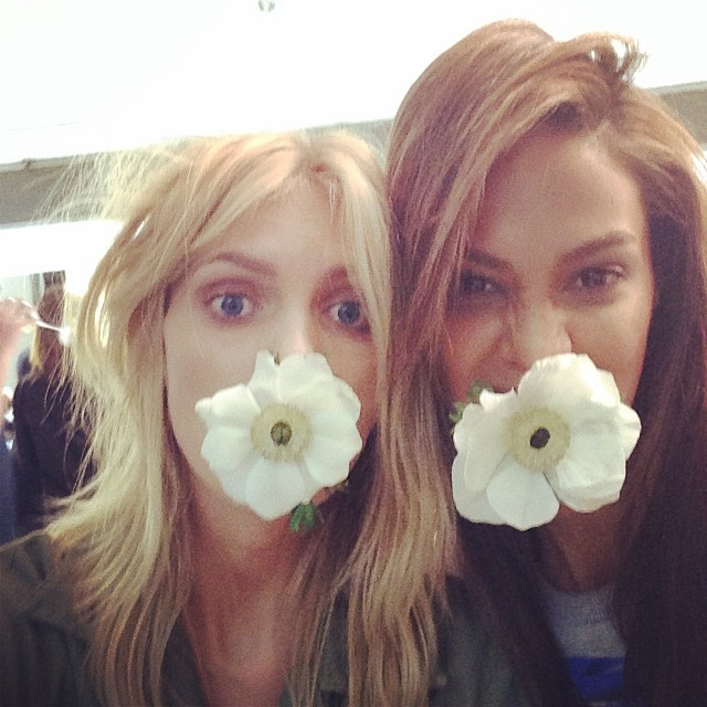 Anja Rubik & Joan Smalls behind the scenes on shoot