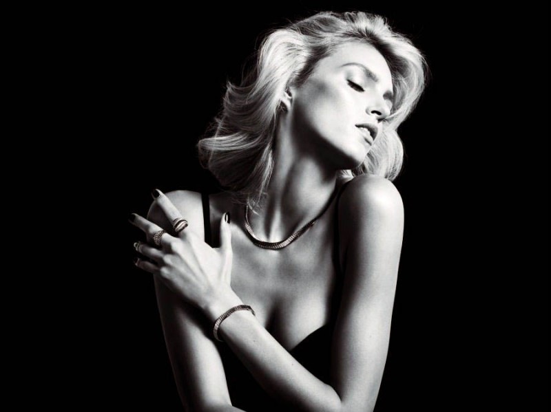 Cover Up: Anja Rubik shows that being a top model also means covering up. Simply wrap your arms around yourself to cover up being topless or to add some drama to any look. Photo: Anja Rubik for Apart Diamond Jewelry