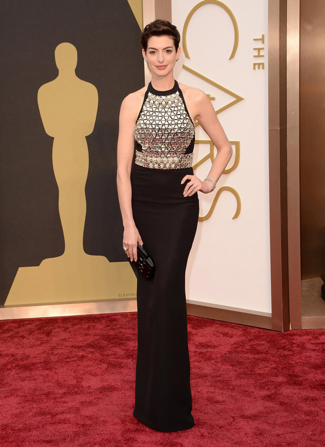 anne hathaway gucci gown oscars 2014 Oscars Red Carpet Looks