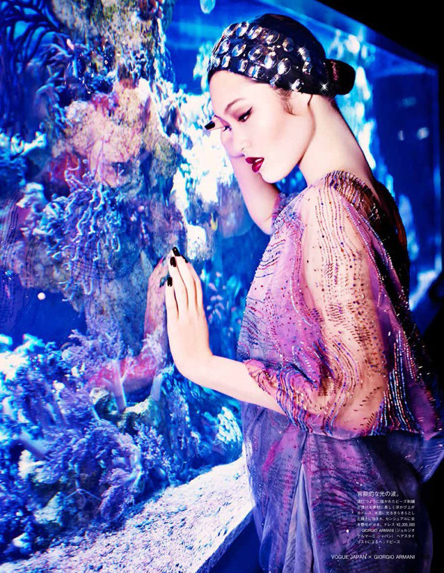 armani blue Beneath the Sea: Chiharu Okunugi Wears Armani for Vogue Japan by Ellen von Unwerth