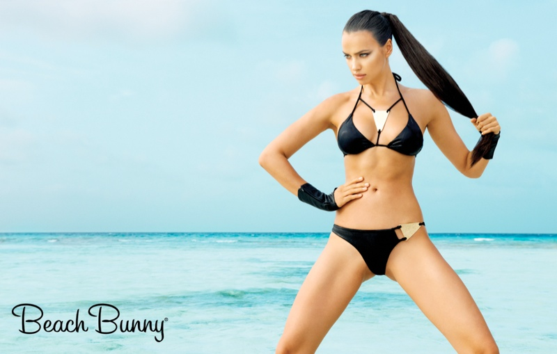 "Irina Shayk is sexy in a black bikini for Beach Bunny Swimwear's spring ""Femme Fatale"" ads. Image: Beach Bunny"