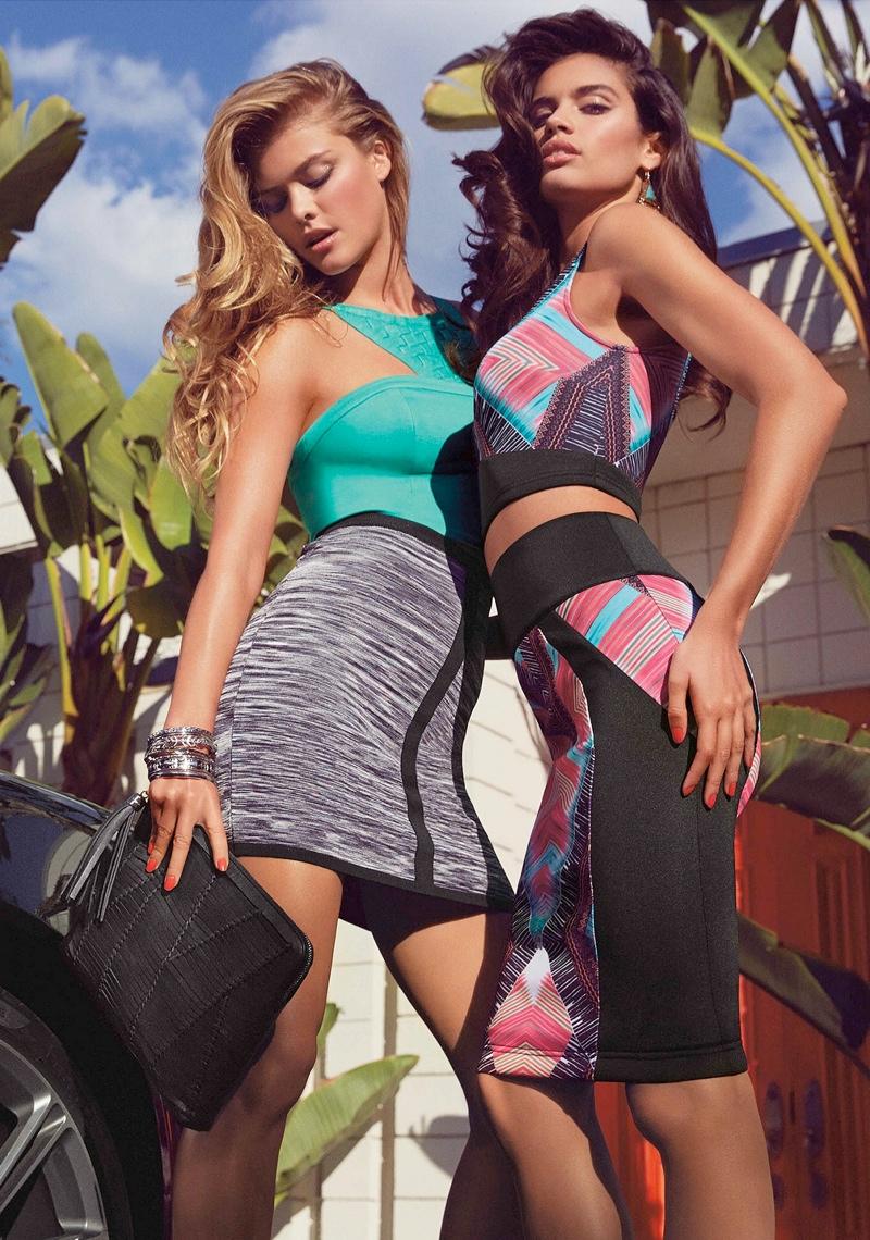 Nina Agdal + Sara Sampaio Bring the Miami Heat in Bebe Spring '14 Shoot